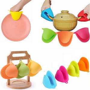7 Color de las agujas de silicona Grip productos de cocina de aislamiento de calor y anti-Burn Hand Grip Guantes antideslizante horno de cocción antiescaldadura T3I5851