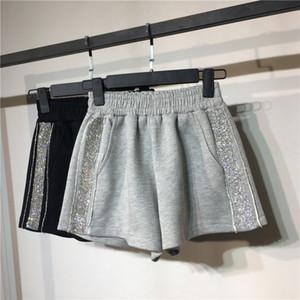 Frauen Shorts Causal Cotton Sexy Startseite Kurz Fitness Shorts Seitenstreifen mit Pailletten Schwarz Graue Hose 4 GRÖSSE