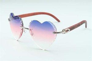 Best-Selling-Direktvertrieb hochwertiger neue herzförmige Linse Sonnenbrille Schneiden 8300687, natürliche Tiger Tempel aus Holz Größe: 58-18-135 mm