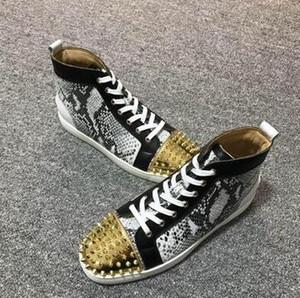 Designer de luxo barato Homens Mulheres Casual Spikes Sneakers Lace Up Outdoor parte inferior vermelha Shoes instrutor Moda Chaussures EU35-47