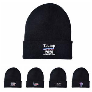 Trump 2020 President beanies Wool Knitted Cap Women Men USA Flag Letter Keep America Great Beanie knit Hat Winter Embroidery Cap LJJA3610-13