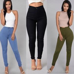 Os doces colorem magros Womens Jeans Zipper Lavados cintura alta Womens Calças Feminino Casual Calças lápis