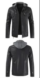 Yeni yaka ve kap çıkarılabilir deri ceket sonbahar ve kış dış ticaret erkek moda deri ceket