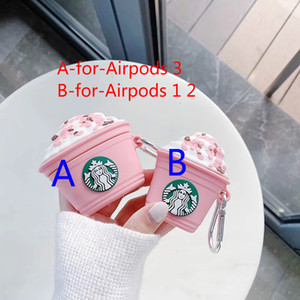 Pink milk tea cup Earphone Case For Airpods Pro 3 2 1 airpod Case Starbucks logo pattern Silicone Cover Strap with Finger Ring