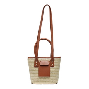Straw Knitting shoulder bag for women beach bags small cross body bag long shoulder strap bucket purse