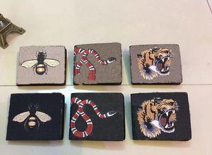 Carteiras de Couro Gunuine dos Homens de Carteira dos Mens para Homens Bolsa Carteira Designer Animal Impresso com Caixa De Dustbag