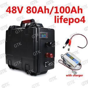GTK étanche 48V 80Ah Lifepo4 48v 100AH lifepo4 avec BMS pour 4000w 3000w golf vélo Scooter panier RV vélo + 10A chargeur
