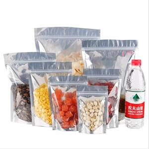 50pcs argento chiaro Stand Up di alluminio serratura della chiusura lampo sacchetti richiudibili Heat Seal Plastic Bag regalo Food Storage imballaggio del sacchetto