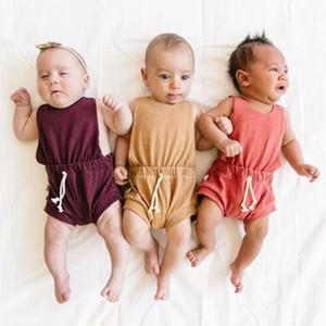 Summer Fashion Newborn Baby rompers criança Meninas Meninos lençóis de algodão Casual Sólidos Jumpsuit Roupas de bebê pequenos playsuit Clothes