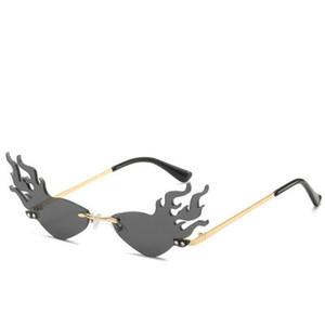 FireWave Sunglasses Ashion fogo Onda Chama Sunglasses Mulheres Homens sem aro óculos de sol óculos de luxo Trending Metal Frame Sunglasses So6fk Wor