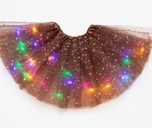 14styles niños LED vestido con luces de estrellas de verano hinchados vestidos de niña luminosas lentejuelas Tutú de funcionamiento de la etapa del partido de gasa falda FFA3713A