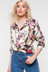 Женщины сорочка Весна печатных одной груди блузки 19ss новая осенняя мода Роскошные дизайнерские рубашки топы с длинными рукавами