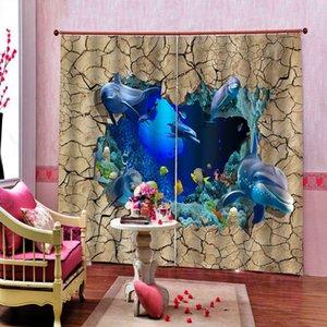 Birck шторы на заказ синего океана дельфин шторы 3D занавес окна Динозавр печать Luxury Blackout для гостиной