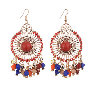 4 color European and American fashion retro style earrings, bohemian exaggerated disc stream sumi beads earrings