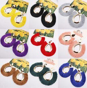 11 colores de moda étnica de Bohemia borla pendientes para las mujeres hechas a mano joyas de colores pendientes Declaración de aro grande para los regalos muchacha de las mujeres más nuevos