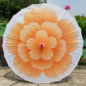 Chinese Colored Cloth Umbrella with Wood Handle Colorful Jasmine Bloom Flower Dance Parasol Wedding Props