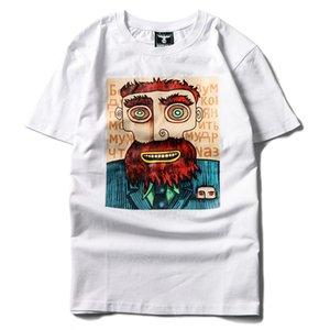 T-shirt Uomo del fumetto di stampa del cotone mezza manica moda hip hop rotonda collo libero manicotto mezzo del nuovo stile all'ingrosso fabbrica