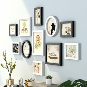 Modernes nettes Muster Wand hängend Bilderrahmen Set 11pcs Holzbilderrahmen Anzug Schlafsofa Wohnzimmer-Wand-Dekor-Foto-Rahmen