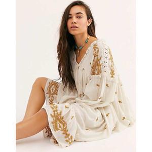 Jastie Lavanta Alanlar Midi Elbise 2020 Yaz Sonbahar Uzun Kollu Gevşek Nakış şık elbise Çiçek Boho Hippi Vintage vestidos