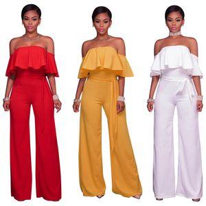 여자 jumpsuts 새로운 단색 ruffle strapless 섹시한 죄수 복서 벨트 와이드 다리 바지 흰색 빨간색 jumpsuits womens 옷 xl 811