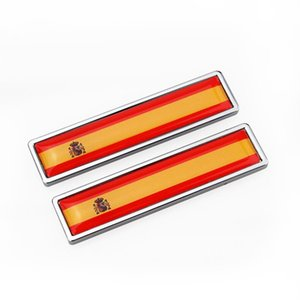 Almanya İspanya bayrağı Çinko alaşımlı Araç Plakası Etiket Emblem Badge araba tasarım Citroen Volvo için [58x14mm] fit