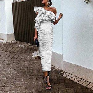 Dot Printed Ruffle Sexy Elegant Slim Sleeveless Pencil Dresses Fashion Women Dresses One Shoulder Women Prom Dresses Polka