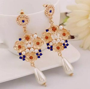 Fashion-Famous brand design earrings Diamond jewel exaggerated earrings Korean temperament sexy pearl long earrings free shipping