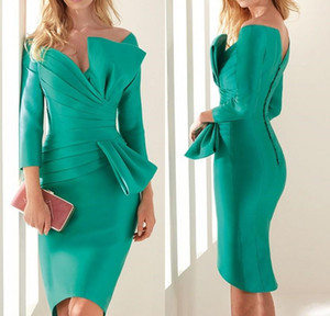 Hunter Green Cocktail Dresses Knee Length Satin Pleated 3 4 Sleeves Sheath Vestidos De Fiesta 2019 Prom Dresses Evening Wear Party Gowns