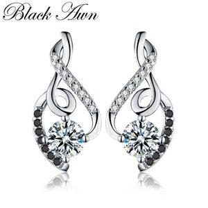[Black AWN] Echtes 925 Sterling Silber Weiblichen Ohrring Edlen Schmuck Vintage Wassertropfen Hochzeit Ohrstecker für Frauen T006