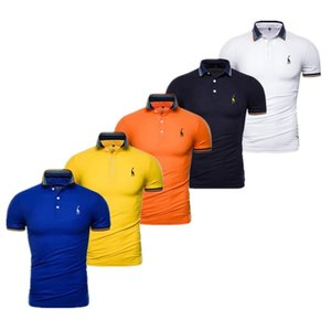 Dropshipping 2020 New Summer Cotton Polo Men Solid Griaffe Embroidery Short Sleeve Polo Shirt Men Fashion Male Tee Shirts
