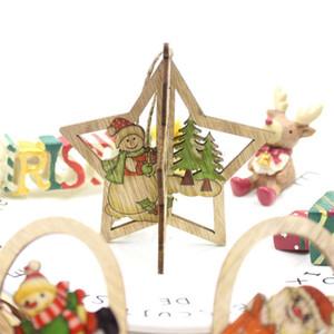 3d عيد الميلاد قلادة خشبية diy لون الطباعة سانتا ثلج قلادة الإبداعية شجرة عيد الميلاد الديكور هدية للأطفال اللعب