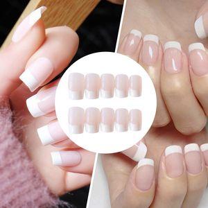 Artificielle acrylique faux ongles classiques français avec de la colle 24pcs Blanc Rose long Faux ongles la pleine presse sur