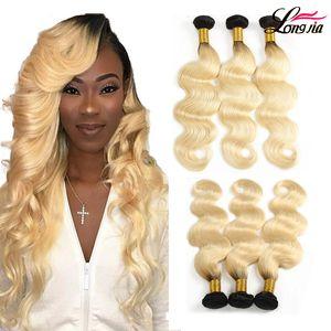 Charmingqueen 1B / 613 Ombre Blonde Haare brasilianischen Körper-Wellen-Haar-Bundles 2 Tone Dunkle Wurzeln Platinum Ombre Körper-Wellen-Menschenhaarverlängerung