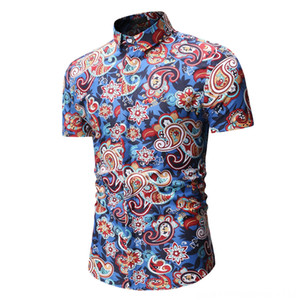 Summer Beach Hawaiian Short Sleeve Shirt Men Men's Shirts Men's Clothing Floral Printed Casual Dress Shirts Male Comfortable Tops Clothes 20