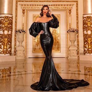 vestidos de festa de noite Sexy Backless Alças Preto Mermaid Vestido Longo Poeta luva Trem da varredura Prom robe de soiree