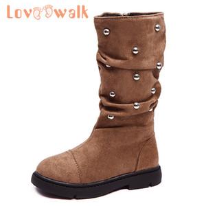 Kızlar Prenses Moda Rhinestones Kız Kadife Ayakkabı Çocuk Fermuar Sıfır Loveewalk Çocuk Boots Kış Sonbahar Tall Boots