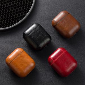 Estuche protector de cuero para auriculares Auricular Bluetooth IOS Estuche protector de cuero con gancho para Airpods Iphone forma popular