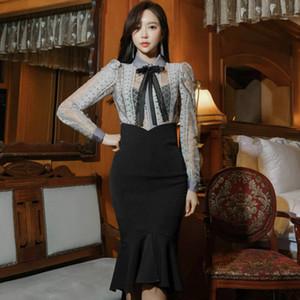 Primavera dois ternos feminino bordado Blusa cintura Preto alta Fishtail Skirt Sexy Escritório Define altura do joelho OL Vestidos fêmeas