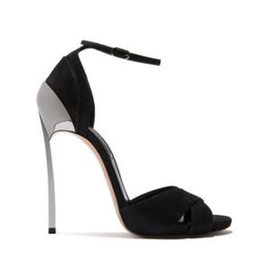 2019 neue Designer-Schuhe schwarze Knöchelverpackungs-Mode Sandalen Super-High-Silber Stilettferse schicke Sandalen Absatzfrauen-Parteischuhe