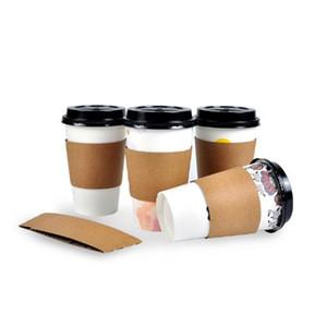 Одноразовые чашки Рукав для 12 / 16oz Кружки Blank двухэтажные Kraft Paper Кофе Чай Milk Cup Обложка Anti-горячей Пользовател