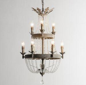 Candelabros de hierro rústico Luz de cristal Lámpara extra larga vintage Lampadario gris retro Colgante de hierro antiguo Luz de pasillo Escalera Luz lámpara altaLLF