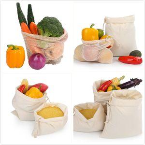 sacs à provisions en coton réutilisables sacs en filet durables sacs respectueux de l'environnement main maille pochette de rangement des jouets de fruits légumes sac de rangement à domicile