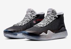 nike D Rose 9KD 12 EYBL Chaussures de basket Kevin Durant 12 Ciment Noir Loup Gris Université Rouge Sport Chaussures de sport avec la boîte Livraison gratuite Taille 40-46