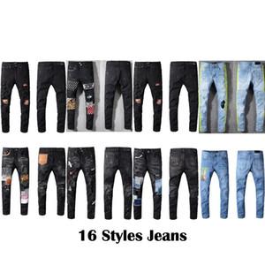16 stili superiore Jeans neri Famous Brand Designer Autunno Pantaloni donna degli uomini Via Primavera indossare pantaloni Mens del motociclista popolari Hiphop Punk