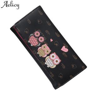 Aelicy alta calidad de impresión de dibujos animados búho monedero largo bordado Animal de impresión cerrojo moda mujeres cartera de cuero bolsos de embrague