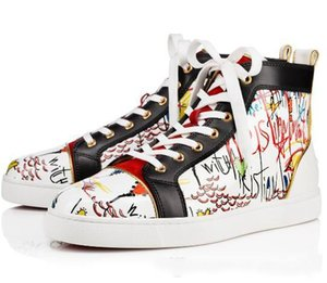 Vogue originale di qualità Vera pelle Graffiti Red Sneakers inferiore, scarpe basse Hightop Uomo Sailor soli pattini rossi, Abito da sposa scarpe casual