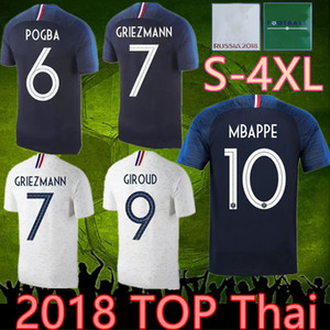 4xl France 2 estrellas Jersey 18 19 del fútbol de Francia camisetas HENRY 2018 Mbappé Giroud Kante maillot de pie ZIDANE 18/19 camisetas de fútbol