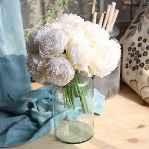 Buquê de casamento flor de seda 5pc muito grande Peony artifcial Decor Branco Peony Início exibição falsificação flor Pacote de Rose Pink Heart