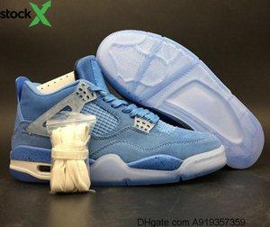 2020 En Kaliteli Yeni Release 4s Üniversitesi Mavi Beyaz Adam basketbol Günlük Ayakkabılar Şaşırtıcı Süet IV UNC Gök Mavisi Eğitmenler