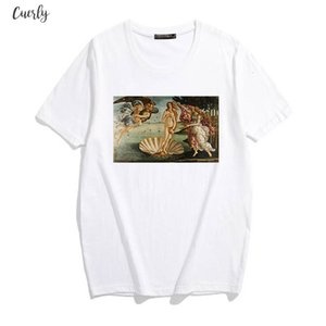 Personality Fashion Oil Painting Angel Girl Print Top New Summer Casual Chic Fashion Harajuku Loose Ulzzang Female T Shirt